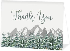 Snow Fir Trees Wedding Personalized Thank You Card