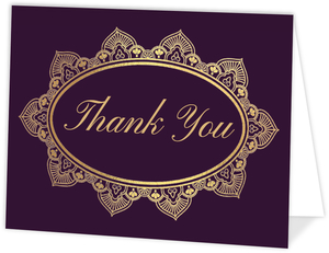 Royal Purple & Faux Gold Thank You Card