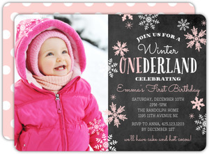 Pink Falling Snowflakes Winter Onederland Birthday Party Invitation