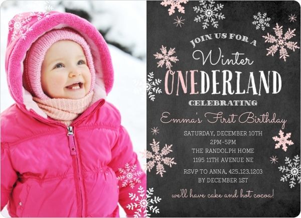 Pink falling snowflakes winter onederland birthday party invitation pink falling snowflakes winter onederland birthday party invitation filmwisefo