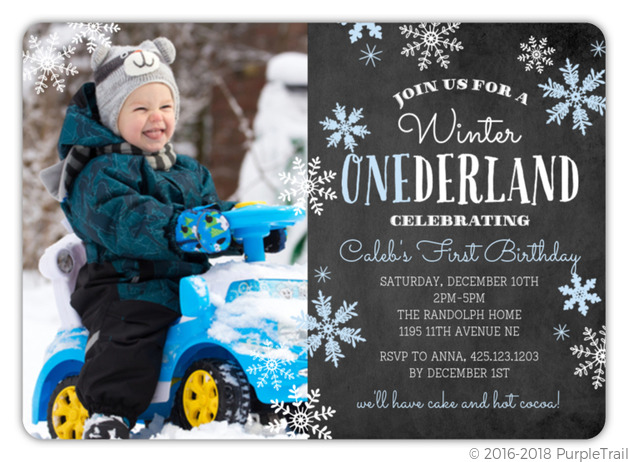 Blue Falling Snowflakes Winter Onederland Birthday Party Invitation First Birthday Invitations