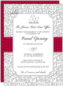 Pattern Red Ribbon Corporate Open House Invitation