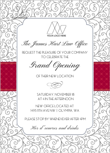 Pattern Red Ribbon Corporate Open House Invitation Business Open