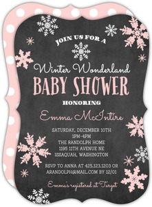 Pink Falling Snowflakes Winter Wonderland Baby Shower Invitation