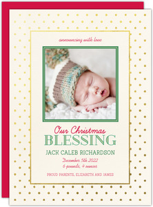Gold Foil Christmas Blessings Birth Announcement