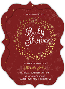Gold Foil Dotted Wreath Baby Shower Invitation