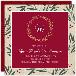 Berry Branches Gold Foil Monogram Birth Announcement
