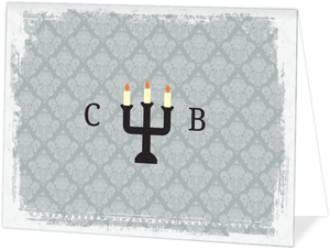 Gray Damask Candelabra  Halloween Thank You Card