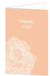 Peach With White Peony Thank You Card