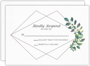 Diamond Frame Greenery Wedding Response Card