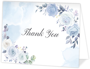 Periwinkle Floral Wedding Thank You Card