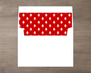 Bright Red Christmas Tree Pattern Liner