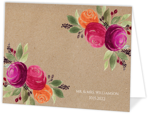 Rustic Kraft Watercolor Floral Wedding Thank You Card