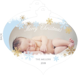Blue and Gold Snowflake Ornament Birth Announcement
