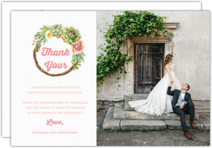 Whimsical Succulents Wedding Thank You Postcard