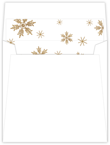 Faux Gold Glitter Snowflake Envelope Liner