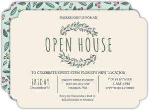 Leaf Berry Business Open House Invitation