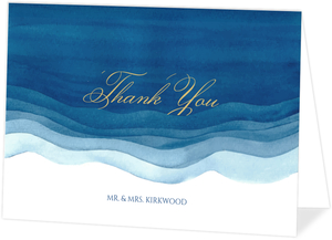 Elegant Blue Watercolor Wash Thank You Card