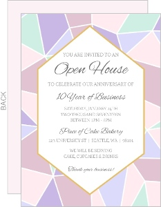 Geometric Pastel Business Open House Invitation