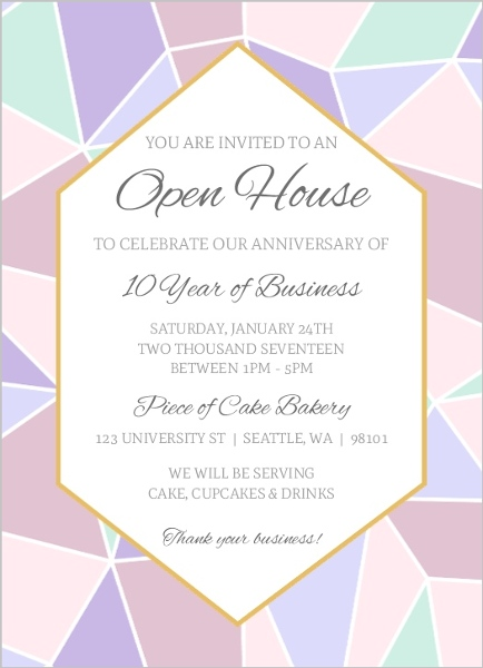 Geometric Pastel Business Open House Invitation Business Open