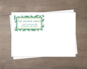 Pine Leaves Merry Christmas Envelope