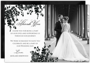 Black Watercolor Decor Thank You Card