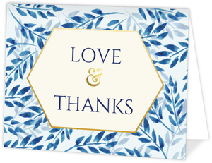 Elegant Blue Watercolor Foliage Thank You Card