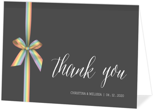 Rainbow Ribbon LGBT Wedding Thank You Card