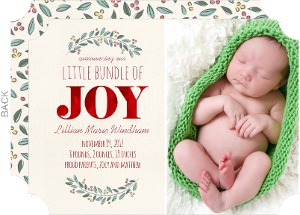 Berry Foliage Red Foil Holiday Birth Announcement