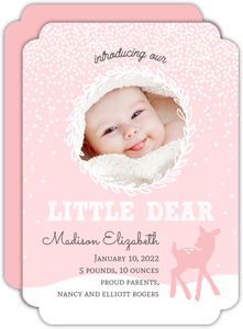 Pink Winter Fawn Birth Announcement