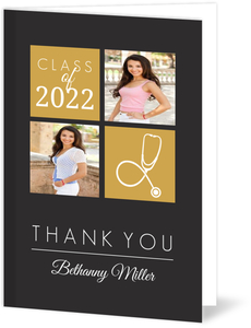 Gold Color Blocks Nursing School Graduation Thank You