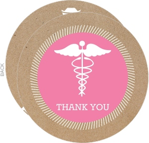 Kraft Paper Pink and White Graduation Thank You