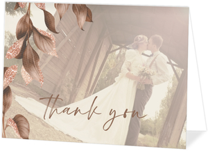 Faux Glitter Autumn Leaves Wedding Thank You Card