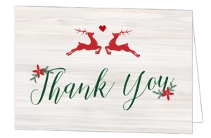 Rustic Reindeer Christmas Wedding Thank You Card