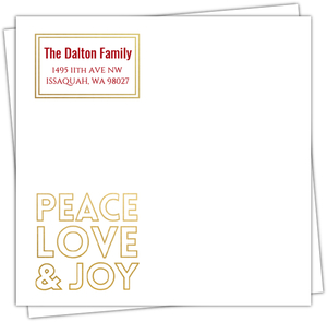 Peace Love Joy Faux Gold Cutout Envelope