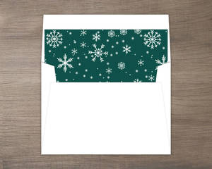 Winter Green Snowflake Holiday Envelope Liner