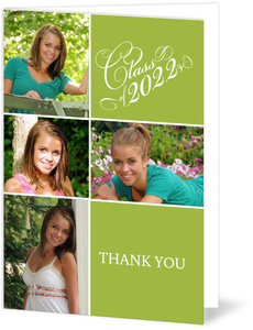 Green Photo Collage Graduation Thank You