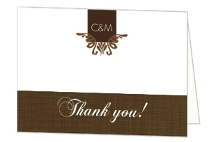 Elegant Textured Brown Wedding Thank You Card