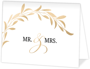 Faux Gold Laurel Wedding Thank You Card