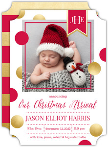 Monogram Banner Christmas Arrival Birth Announcement