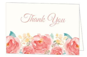 Pink Elegant Watercolor Flower  Wedding Thank You Card