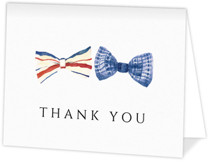 Stripped Watercolor Bow Tie Wedding Thank You Card