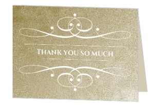 Gold Metallic Antique Style Thank You Card