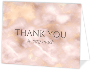 Elegant Blush and Gold Marble Wedding Thank You Card