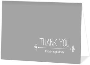 Gray Whimsical Wedding Thank You Card