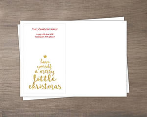 Gold Merry Little Christmas Tree Envelope