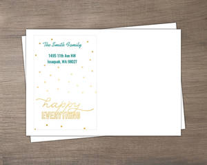 Faux Gold and Turquoise Happy Everything Envelope