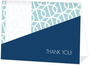 Blue Modern Swirls Wedding Thank You