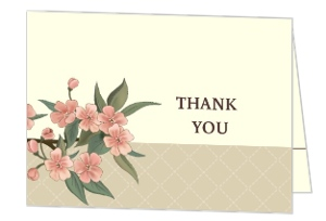 Romantic Pink And Brown Thank You Card