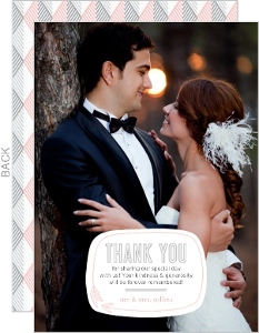 Pink And Gray Geometric Arrows Wedding Thank You Card